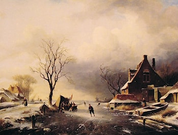 Winter Scene with Skaters by Charles Henri Joseph Leickert