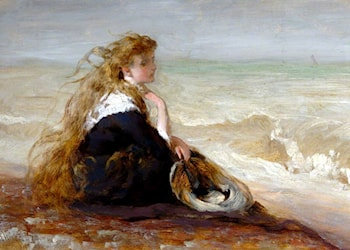 Girl Seated By Shore Study by George Elgar Hicks