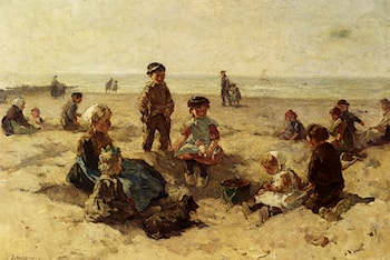 Children Playing On The Beach by Johannes Evert Akkeringa