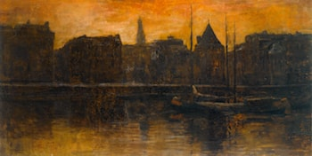 A View of the Prins Hendrikkade with the Schreierstoren, Amsterdam by George Hendrik Breitner