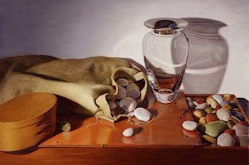 Still Life with Glass Vase and Stones by Linda Mann