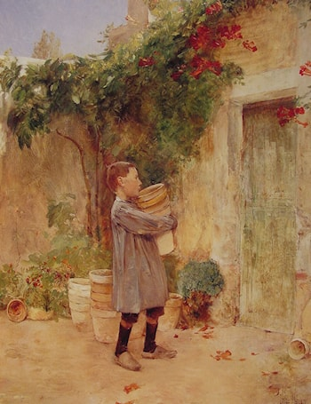 Boy with Flower Pots by Childe Hassam