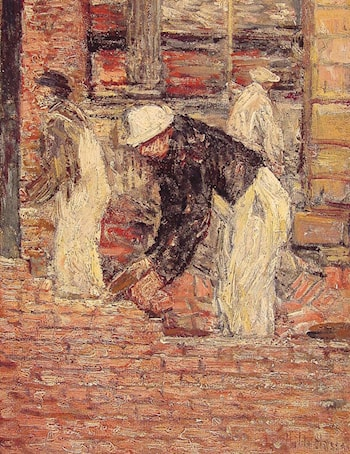 Bricklayers by Childe Hassam