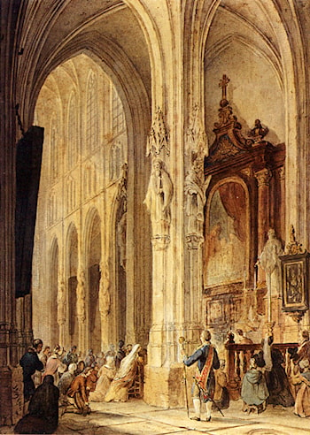 A Church Interior With People Attending Mass by Johannes Bosboom