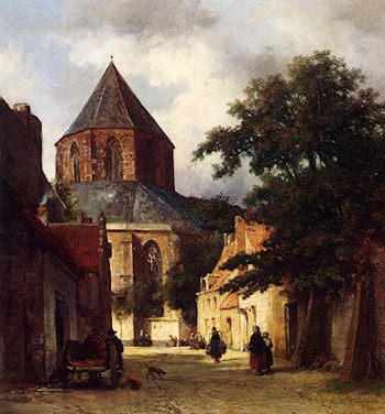 Figures In The Streets Of A Dutch Town, A Church In The Background by Johannes Bosboom