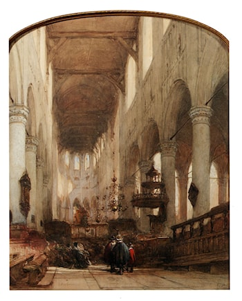 Worshippers In The Central Aisle Of The Pieterskerk, Leyden by Johannes Bosboom