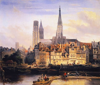 View of the Paris Quay and the Cathedral at Rouen by Johannes Bosboom