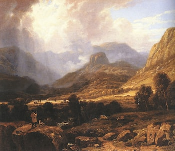 Landscape in the Lake District with the Vale of St. John between Thirlmere and Keswick by William Havell