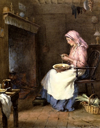 A Woman Peeling Vegetables by William Kay Blacklock