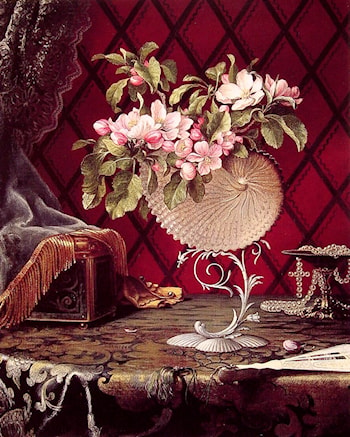 Still Life with Apple Blossoms in a Nautilus Shell by Martin Johnson Heade
