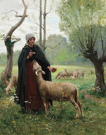Shepherdess Feeding Her Sheep by Georges Laugee