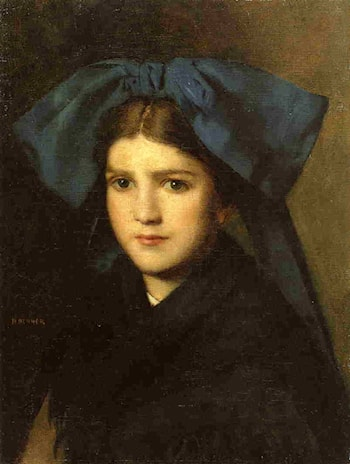 Portrait of a Young Girl with a Bow in Her Hair by Jean-Jacques Henner