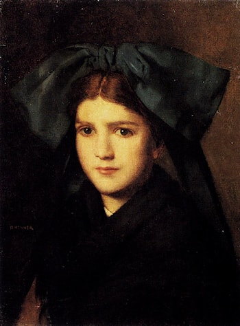 A Portrait Of A Young Girl With A Bow In Her Hair by Jean-Jacques Henner