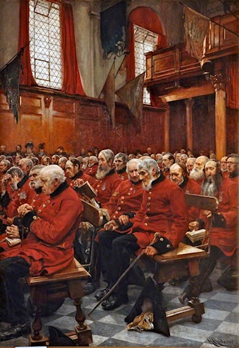 The Last Muster, Sunday at the Royal Hospital, Chelsea by Sir Hubert von Herkomer