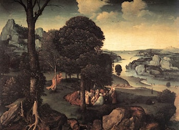 Landscape with St John the Baptist Preaching by Joachim Patenier (Patinir)