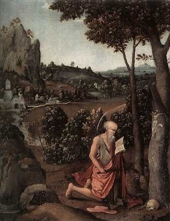 Rocky Landscape with Saint Jerome by Joachim Patenier (Patinir)