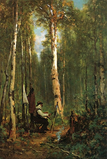 Artist at His Easel in the Woods by Thomas Hill