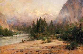 Bow River Gap at Banff, on Canadian Pacific Railroad by Thomas Hill