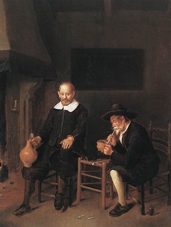 Interior with Two Men by the Fireside by Quiringh Gerritsz. van Brekelenkam