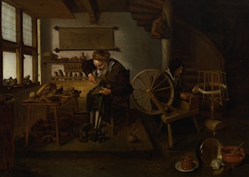 A Cobbler at Work with His Wife Spinning Wool by Quiringh Gerritsz. van Brekelenkam