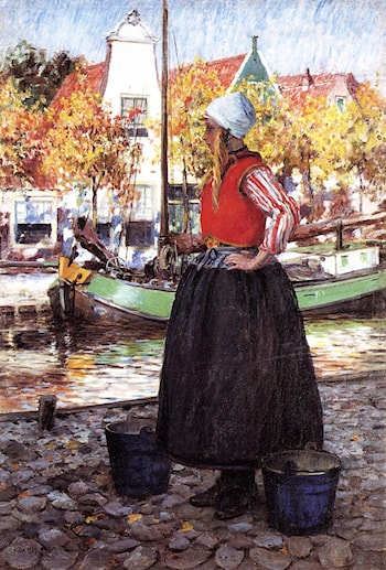 Woman Along Canal by George Hitchcock