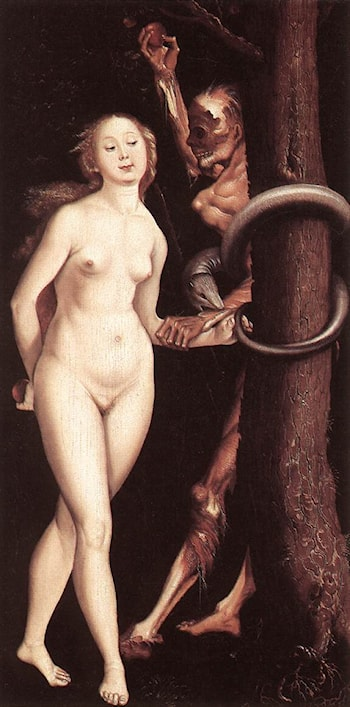 Eve, the Serpent, and Death by Hans Baldung