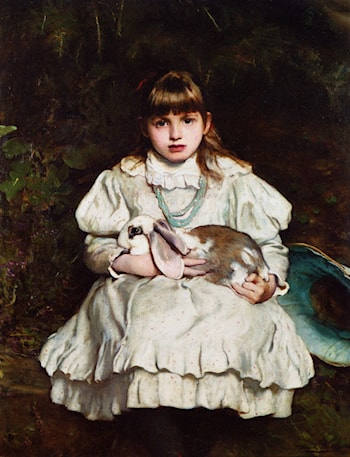 Portrait of a Young Girl Holding a Pet Rabbit by Frank Holl