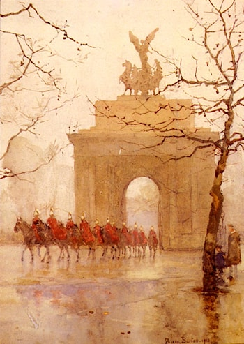 Hyde Park Corner, With Household Cavalry by Rose Barton