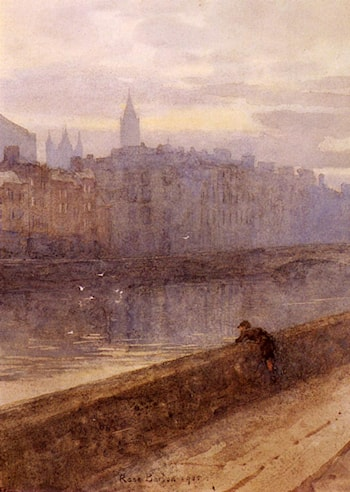 Evening On The River Liffey With St. John's Church In Distance by Rose Barton