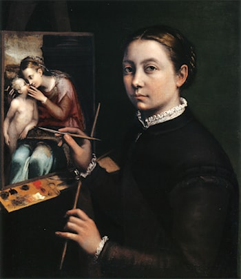 Self Portrait at the Easel Painting a Devotional Panel by Sofonisba Anguissola