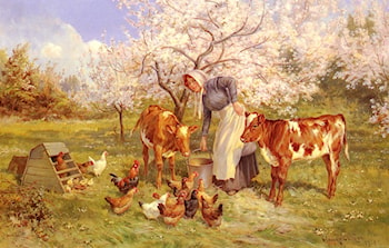 Feeding Time In The Orchard by Claude Cardon