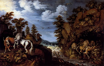 A Rocky Landscape With A Stallion, Bull And Camel Overlooking A Lion's Den by Roelandt Jacobsz Savery