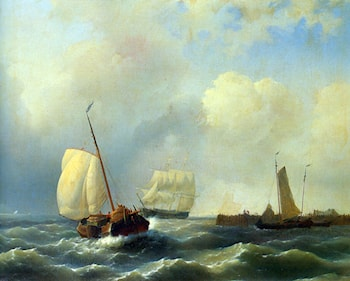 Skirting the Coast on a Breezy Day by Abraham Hulk Snr