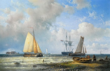 Dutch Barges in a Calm by Abraham Hulk Snr