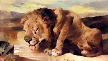 Lion Drinking At A Stream by Sir Edwin Henry Landseer