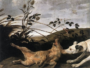 Greyhound Catching a Young Wild Boar by Frans Snyders