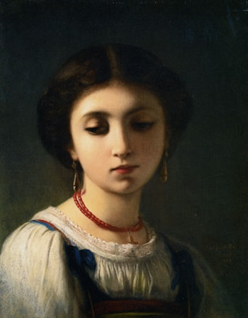 Portrait of a Young Italian Girl by Charles Zacharie Landelle