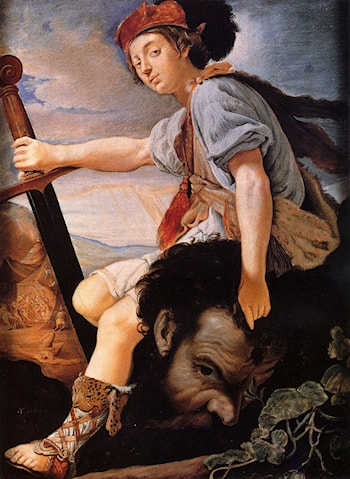 David With The Head Of Goliath by T. Flatman