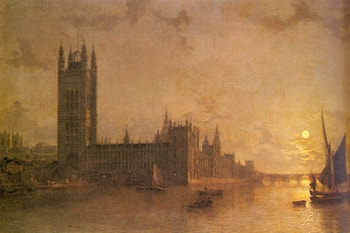 Westminister Abbey, The Houses of Parliament with the Construction of Wesminister Bridge by Henry Pether