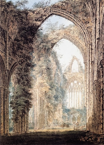Interior of Tintern Abbey looking toward the West Window by Thomas Girtin