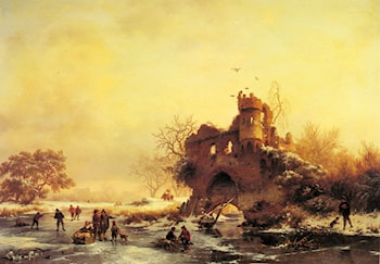 Winter Landscape with Skaters on a Frozen River beside Castle Ruins by Frederik Marianus Kruseman