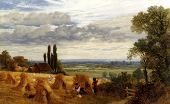 Harvesting Near Newark Priory, Ripley, Surrey by Frederick William Hulme