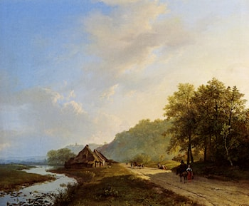 A Summer Landscape With Travellers On A Path by Barend Cornelis Koekkoek