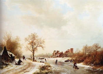 Winterlandschap: A Winter Landscape With Skaters On A Frozen Waterway And Peasants By A Farm In The Foreground by Barend Cornelis Koekkoek