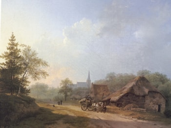 A Cart on a Country Road in Summertime by Barend Cornelis Koekkoek