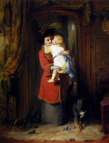 Under The Mistletoe by George Bernard O'Neill