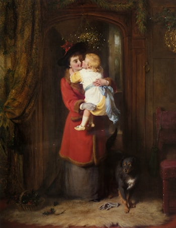 A Christmas Kiss by George Bernard O'Neill