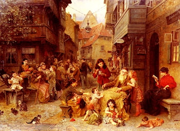In the Shtetl by Ludwig Knaus