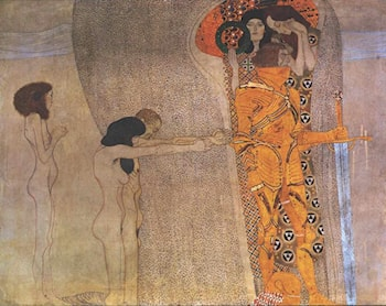 The Beethoven Frieze (detail): The Longing for Happiness by Gustave Klimt