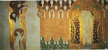 The Beethoven Frieze (right wall): The Longing for Happiness Finds Repose in Poetry by Gustave Klimt